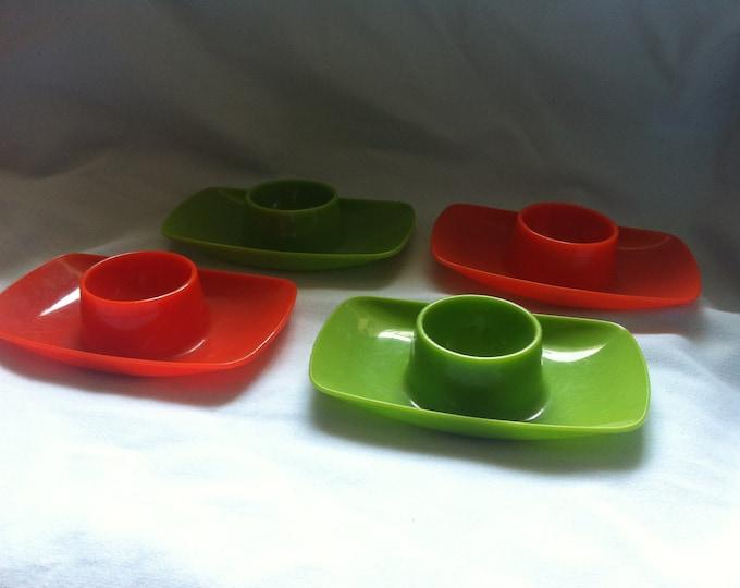 Vintage 50s 60s egg cups green orange, decoration object W. Germany