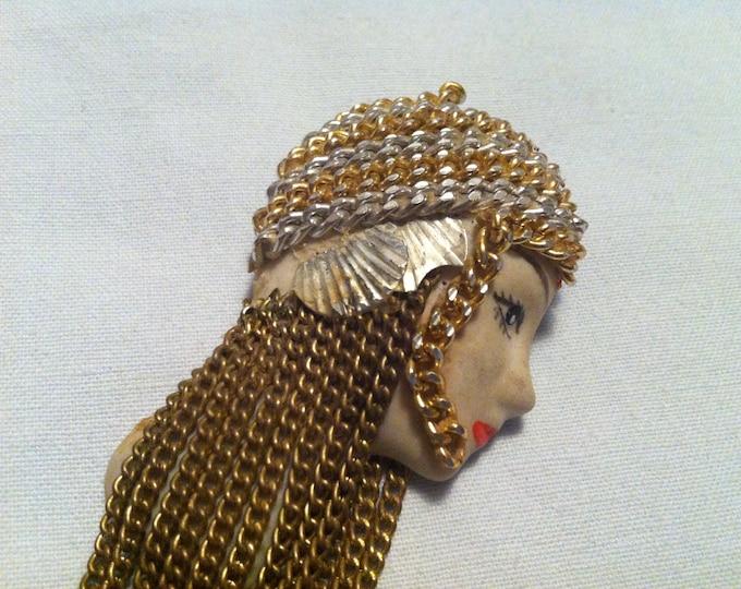 Vintage badge pin head lady hand made long hair decoration