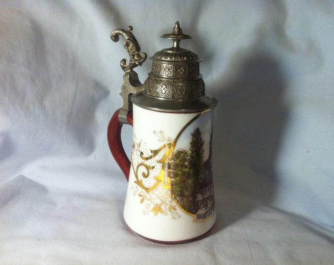 Vintage Porcelain Beer mug tin lid 1/2 L Souvenir Keepsake mug Greetings from Forest Sassen