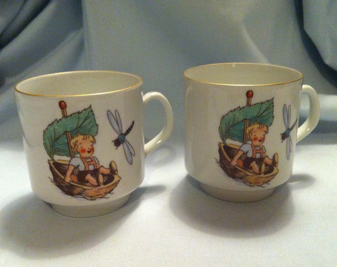 Vintage 2 pieces porcelain children's cups Bavaria Schumann Arzberg Germany cups with motif dragonfly and child