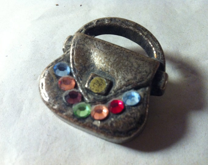 Vintage badge handbag metal with charming decorative object