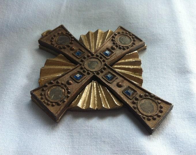 Vintage Metal Christianity Cross Spiriuality Communion decoration #5