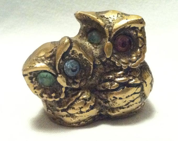 Vintage Brass or Bronze Owl Pair