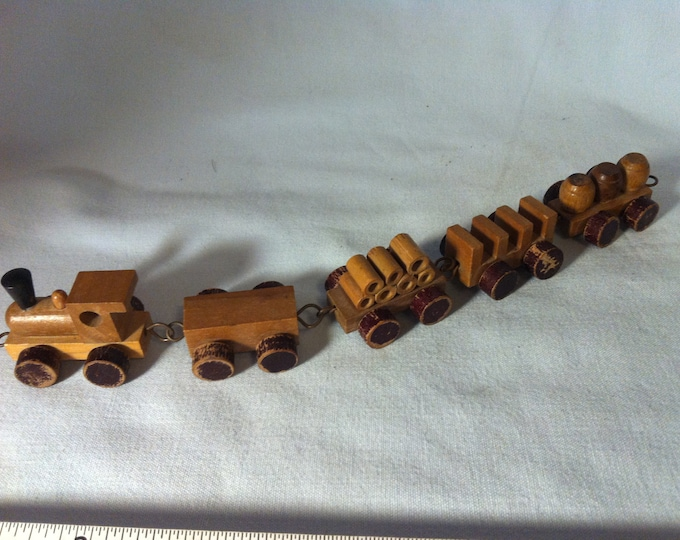 Antique German train railroad Wood Carved dollhouse miniature toy