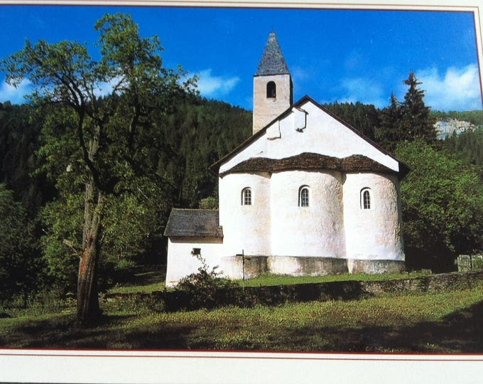 Vintage Religion Church Switzerland Karolingische Dreiapsidenkirche St. Peter in Mistall Postcard Maria Photo