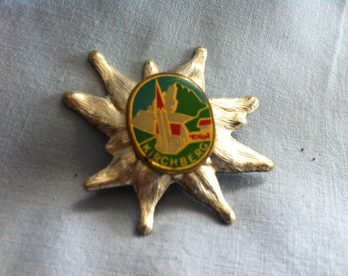 Vintage Tirol Kirchberg Edelweiss metal pin badges souvenir memory Accessories Pins