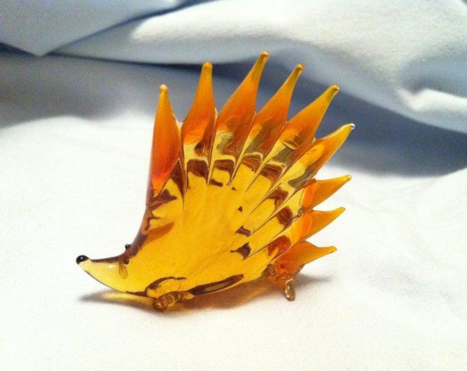 Vintage Glass Hedgehog Sculpture Figure Animal Decoration Object