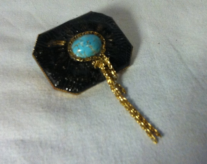 Vintage brooch turquoise stone pin costume jewelery