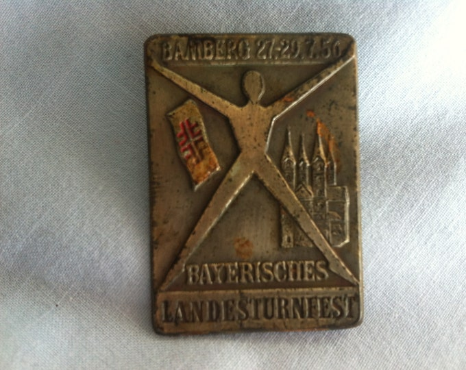 Vintage Bamberg Bavarian State Gymnastics Festival 27.-29.7.56 pin badges souvenir Memory Accessories Pins