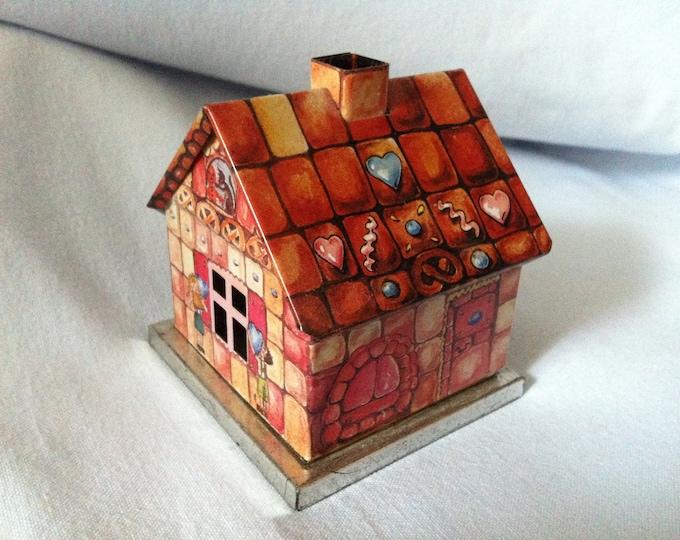Vintage Tin Toy House smokehouse christmas dollhouse accessoires miniature