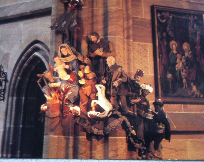 Vintage Religion Nuremberg Frauenkirche Christmas crib Church Postcard Maria Photo