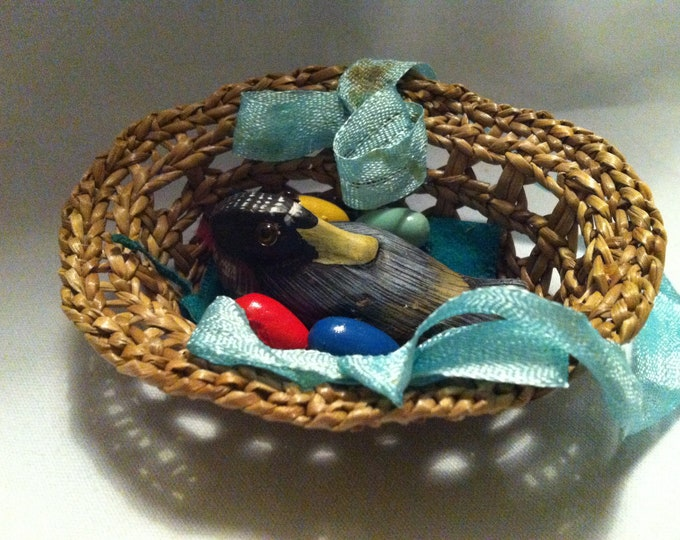 Vintage basket with duck decoration handmade