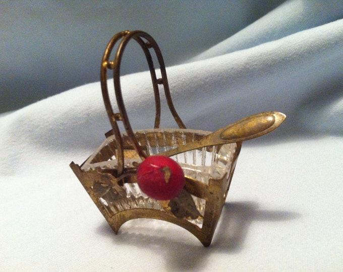 Antique brass Basket dollhouse Accessoires art deco