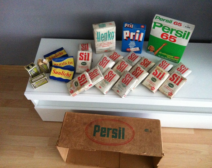 Vintage 50s 60s convolute detergent soaps Persil Pril SIL henko old advertising with original old PERSIL carton
