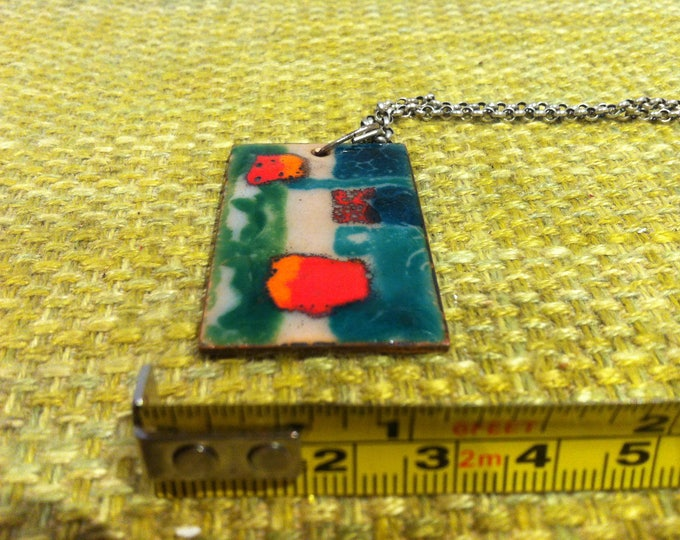 Vintage Jewellery enamel painted plate and 835 silver Chain a necklace