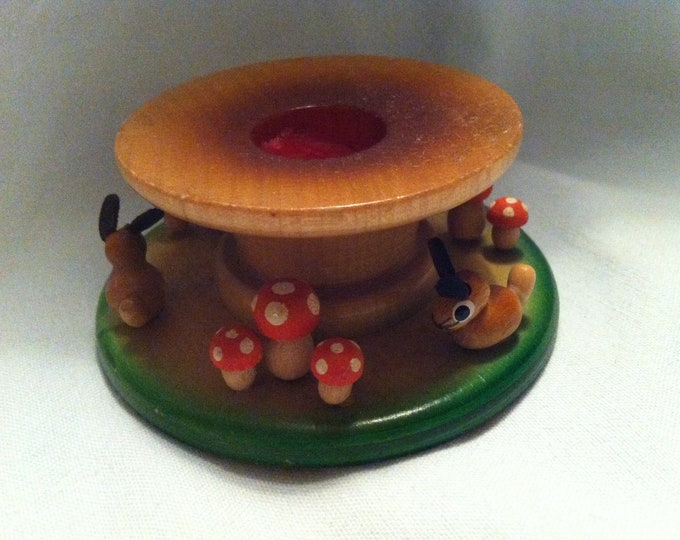 Vintage Ore Mountains candle holder with bunny bunnies and mushrooms fly mushrooms painted decoration Easter handicraft