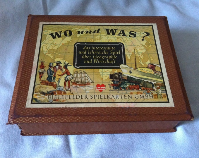 Vintage card Game games cards where and what?  Geography and economic game