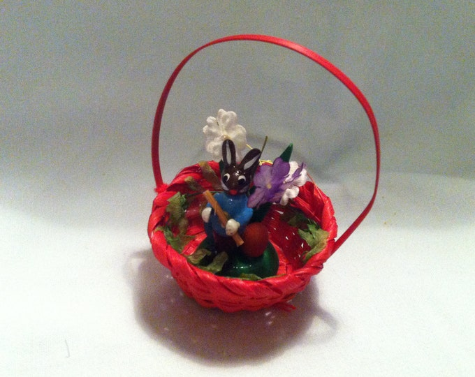 Vintage basket with Bunny Easter Bunny decoration handmade