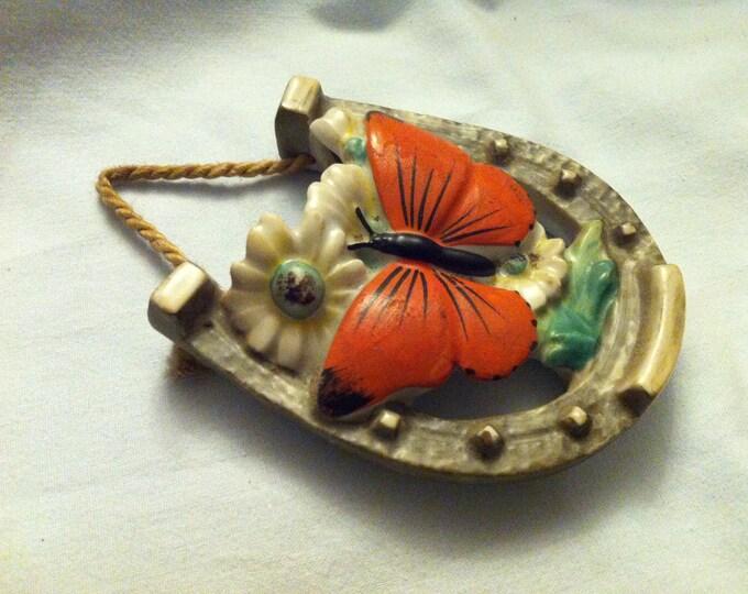 Rare Antique flower vase vase Porcelain accessories decoration horseshoe, butterfly decor motif