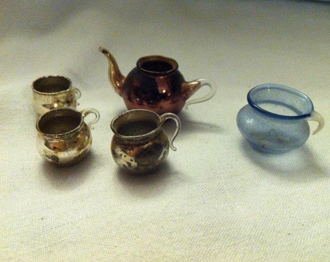 Vintage Convolute Lauscha Glass miniature Doll room design Accessories Glass