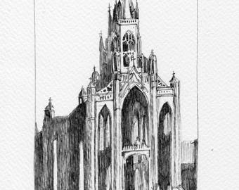 Trinity Church Cork City Original Irish Ink Pen Drawing
