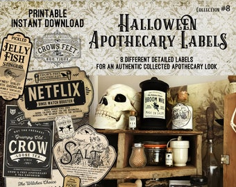 Vintage Look Witch Potion Labels, Halloween Apothecary Labels for Jars, Printable, Collection #8