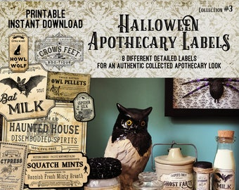 Vintage Look Witch Potion Labels, Halloween Apothecary Labels for Jars, Printable, Collection #3