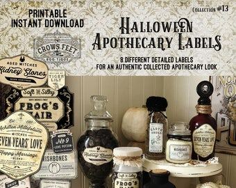 Vintage Look Witch Potion Labels, Halloween Apothecary Labels for Jars, Printable, Collection#13