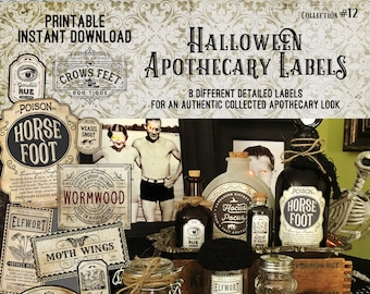 Vintage Look Witch Potion Labels, Halloween Apothecary Labels for Jars, Printable, Collection #12