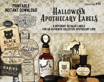 Vintage Look Witch Potion Labels, Halloween Apothecary Labels for Jars, Printable, Collection#16