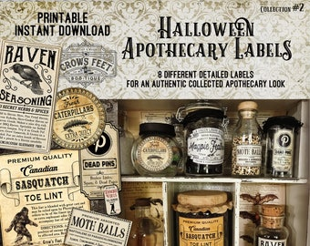 Vintage Look Witch Potion Labels, Halloween Apothecary Labels for Jars, Printable, Collection #2