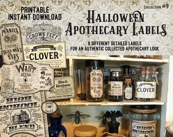 Vintage Look Witch Potion Labels, Halloween Apothecary Labels for Jars, Printable, Collection #9
