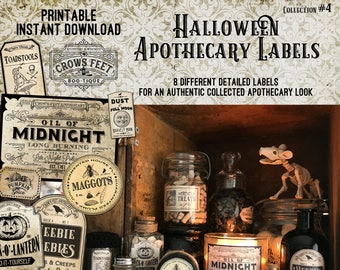 Vintage Look Witch Potion Labels, Halloween Apothecary Labels for Jars, Printable, Collection #4