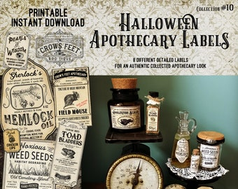 Vintage Look Witch Potion Labels, Halloween Apothecary Labels for Jars, Printable, Collection #10