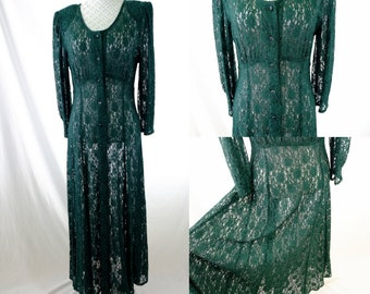 Vintage 90s lace dress/ grunge dress/ jazz era/ jazz dress/ button down dress/ kimono/ versatile dress/ casual dress/ wedding guest/ spring
