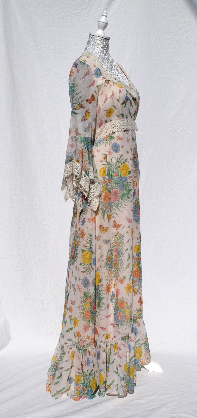 9c0a33afbf0 70s lace flower garden butterfly maxi dress  spring dress