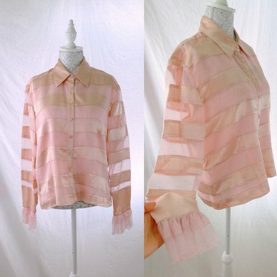 Silk Stripe pastel pink button-down Vintage frill