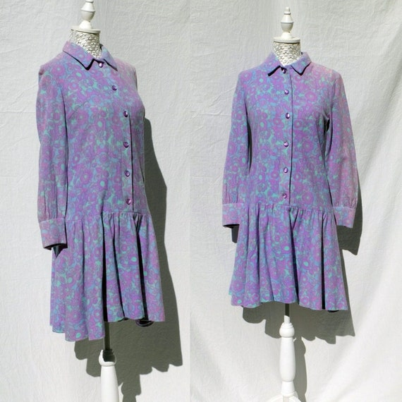 60s pastel lilac baby blue mini button-down dress/