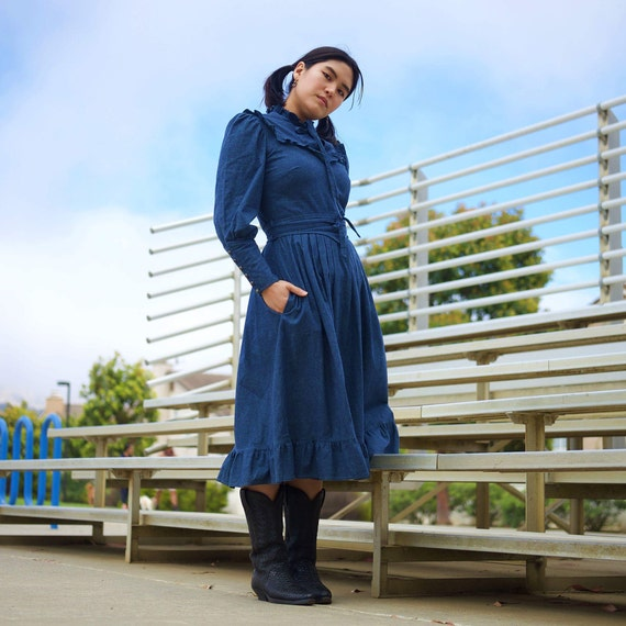 Denim ruffle peasant dress/ Vintage 70s dress/ Boh