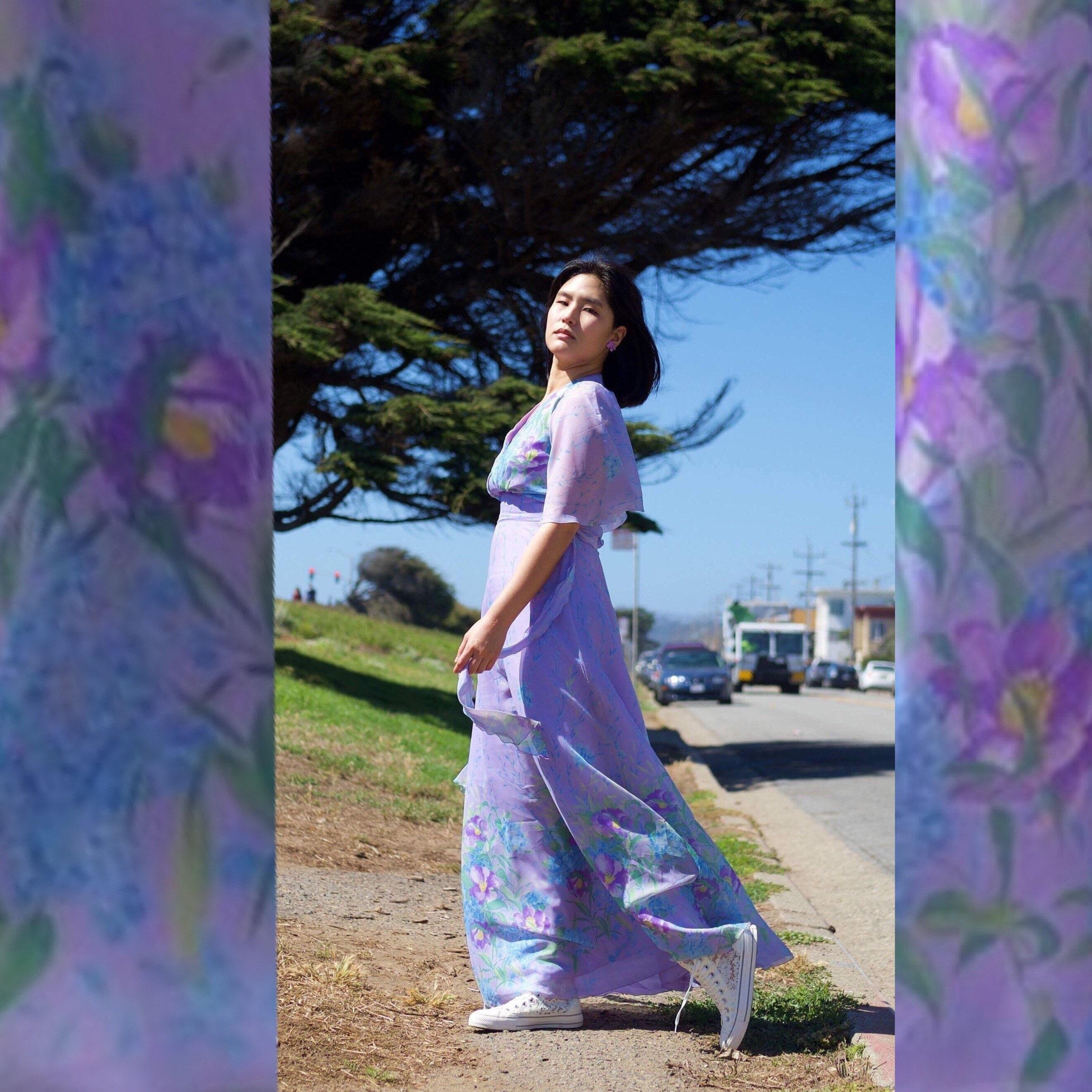 11d6d1c9a02 Lilac Garden pastel floral maxi dress  Vintage 70s dress  Boho