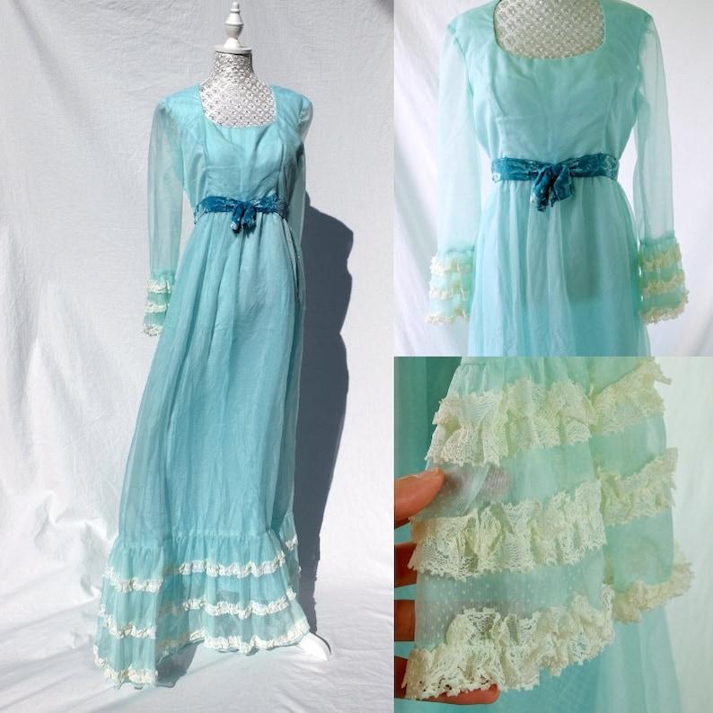 Vintage 1960s Pastel Mint Swissdot Tiered Lace dress prairie dress 60s dress pastel dress frills  lace dress scoop neck velvet