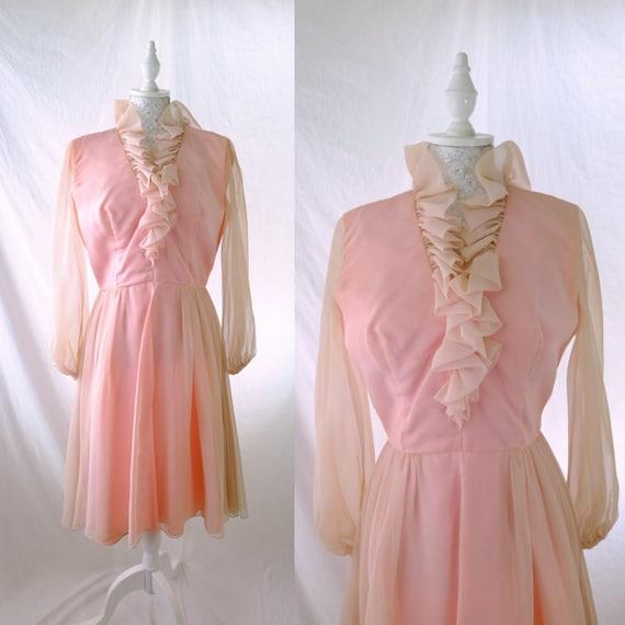 Ruffle 60s Vintage Chiffon Dress in pastel pink/ b