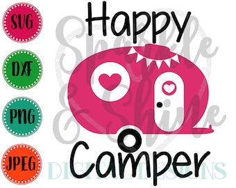 Happy Camper SVG, DXF, JPEG, Camping Cut File, Camping Svg, Silhouette svg, cricut svg, Happy Camper dxf, mom cut file, Camping Family