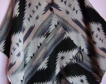 L Vintage Women/'s PonchoKnitted Sweater PonchoCherry Brown Gray White PonchoFringe PonchoWarm Soft Size XL