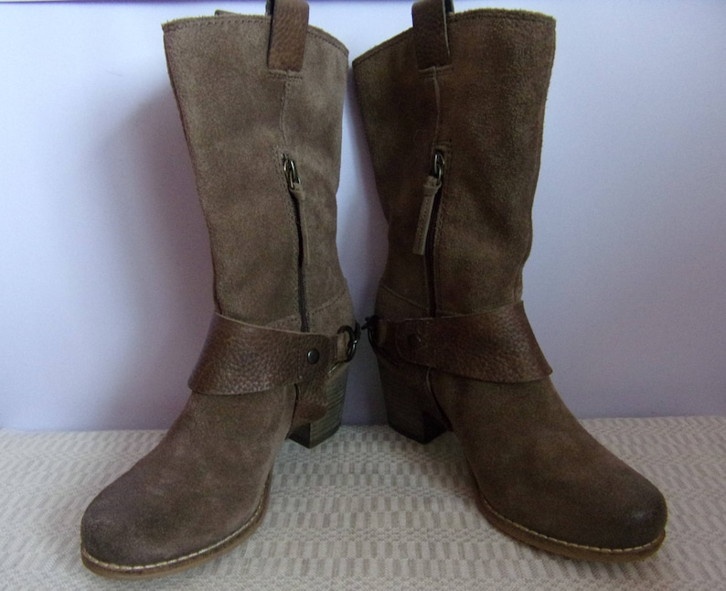 Vintage Women/'s Boots Brand CLARKS BootsBrown Leather BootsCowboy BootsSuede Leather BootsSize EU 36 UK 3,5