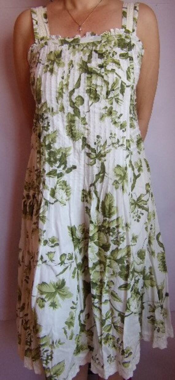 Vintage Women/'s DressSummer DressColorful Dress Green Yellow Pink DressAbstract Print Maxi DressV NeckSize M
