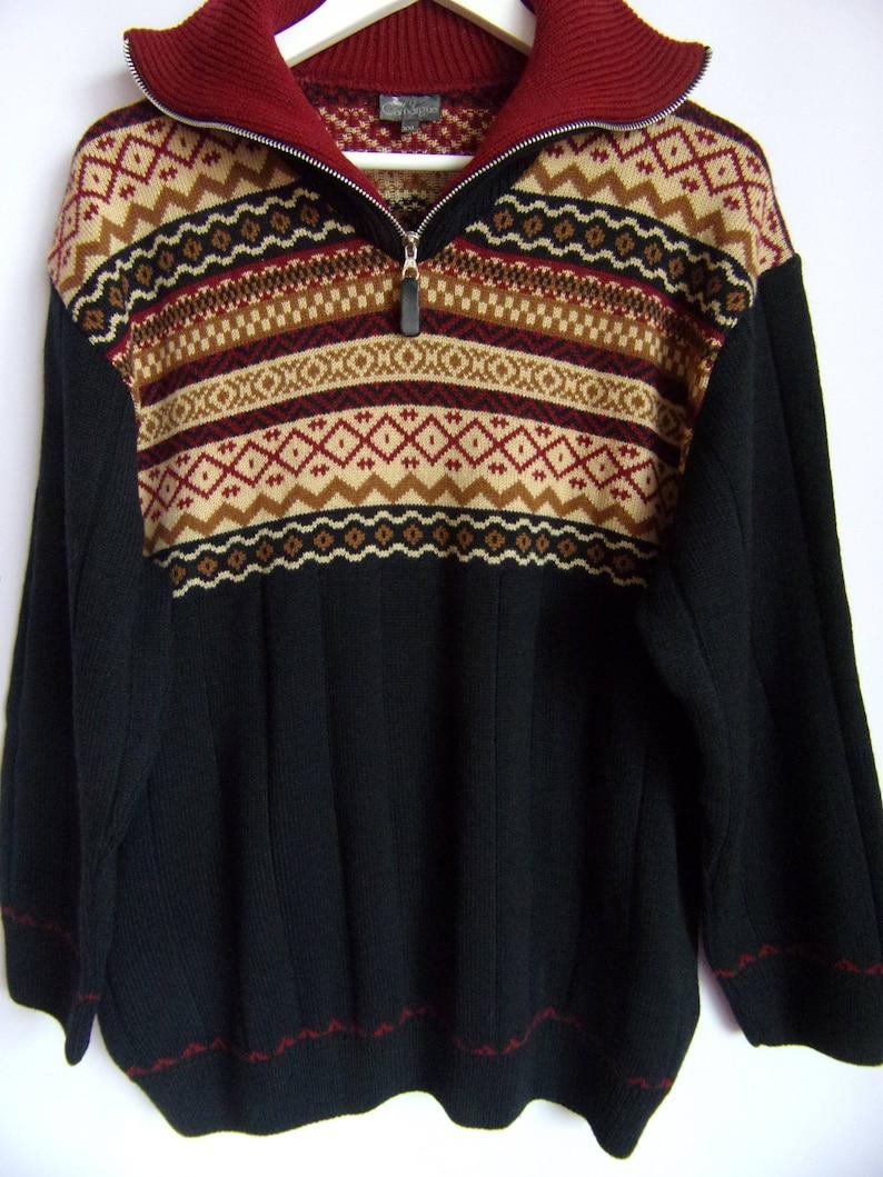 85329ed60c5c8a Vintage Men s Sweater Dark Blue Brown Red Pullover Woolen