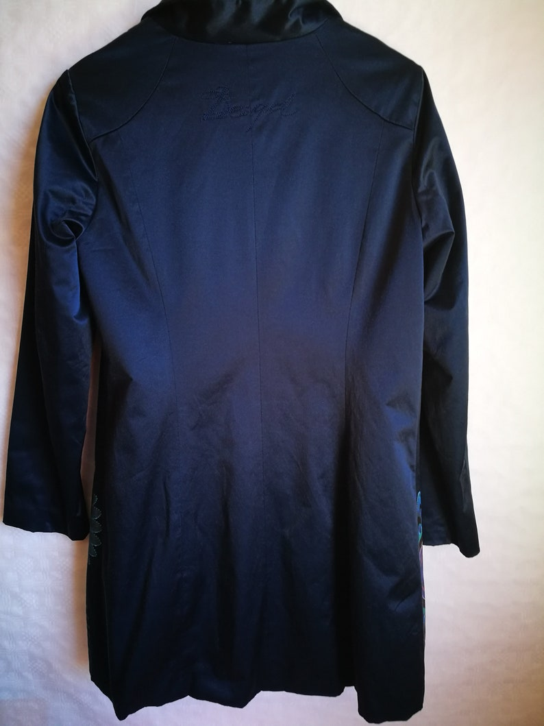 Vintage Womens CoatDESIGUAL TrenchDark Blue Spring CoatAbstract PrintLong SleeveButton UpPocketsliningSize M
