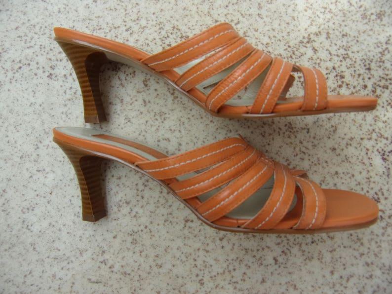 2c0140931fa Vintage Sandals Heeled Sandals Orange Leather Sandals CAPELLI