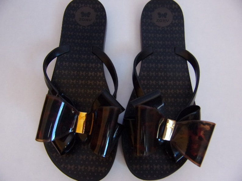 7494cf1a0b174 Vintage Women's Sandals/Flip- Flops Sandals/Summer Beach Sandals/Swimming  Pools Sandals/Black Gold Sandals/Made in Brazil/EU 38/ US 7